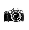 digital photo camera drawn in sketch on white vector image
