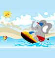 elephant cartoon on speed boat vector image