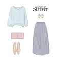 fashion clothes spring set sweater skirt rose vector image