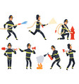 fireman characters rescue firefighter saving vector image vector image