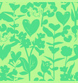 floral pattern with hearts and shapes plants vector image
