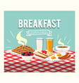 fried eggs with sausages and orange juice vector image vector image