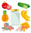 fruits and vegetablesfishmushrooms and glass vector image