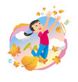 girl playing in the park throwing up leaves vector image