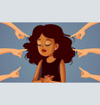 hands pointing to a crying african woman vector image