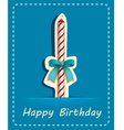 happy birthday card candle and ribbon vector image