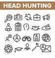 head hunting service linear icons set vector image