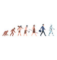 human evolution monkey to businessman and cyborg vector image