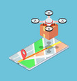 isometric quadcopter or drone on map carrying a vector image vector image