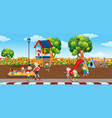 kids in plaground scene vector image vector image