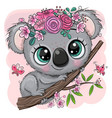koala with flowers on a tree on a pink background vector image vector image