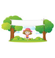 little girl and white banner in park vector image vector image