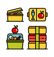 lunchbox outline icon set 3 vector image vector image