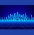 neon retro city landscape in blue colors vector image vector image