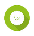 number 1 green sticker vector image