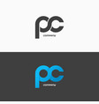 pc letters logo letter p and letter c icon set vector image
