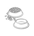 plastic bowls empty and filled with pet cat dog vector image vector image