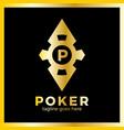 poker casino logo - red rhomb vector image vector image