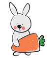 rabbit with carrot on white background vector image vector image
