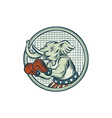 Republican Elephant Boxer Mascot Circle Etching vector image vector image