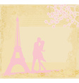Romantic couple silhouette in Paris kissing near