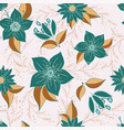 seamless pattern with flower romantic elements vector image