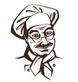 senior chef wearing hat and uniform hand drawing vector image