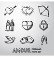 set handdrawn love amour icons - heart