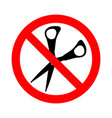 sign prohibiting cutting packaging scissors vector image