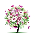 Spring tree floral for your design vector image vector image