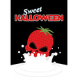 Strawberry skull falls in milk Splashes of white vector image