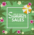 summer sales card with palm tree leaves vector image