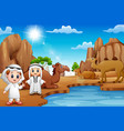 two arab boys with camels in the desert vector image
