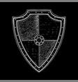 viking shield white hand drawn sketch on black vector image vector image