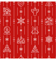 xmas thin line seamless pattern winter background vector image vector image