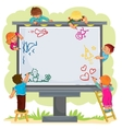Happy children together draw on a large billboard vector image
