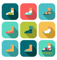 Set of flat shoes icons with shadow vector image