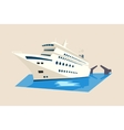 Yacht or liner ship on water with moveable bridge vector image