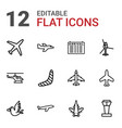 12 flight icons vector image vector image