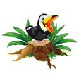 A black bird above the wood vector image vector image