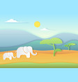 african savannah landscape with elephants vector image vector image