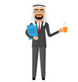 arab businessman with a cup of tea and teapot vector image vector image