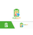 battery and click logo combination energy vector image vector image