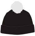 Black winter hat with pompom vector image vector image