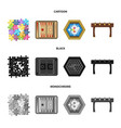 board game cartoonblackmonochrome icons in set vector image vector image
