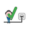 businessman character holding check mark with vector image