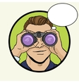 Businessman looks through binocular pop art vector image