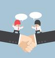 Businessman talking with partnership on a handshak vector image vector image