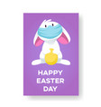 card with a bunny in a face mask with an easter vector image vector image