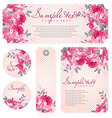 card with pink roses and chevron vector image